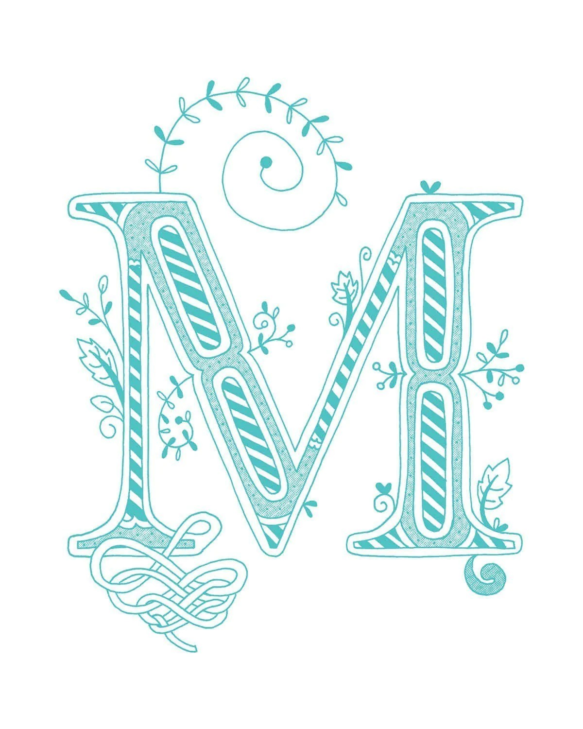 Hand Drawn Monogrammed Print 8x10 The Letter M In The Color