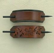 retro leather hair barrettes