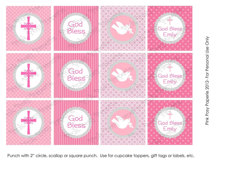 Printable Girl Baptism Pink And Gray Cupcake Toppers