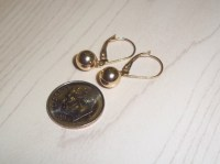 14K Gold Lock Hoop and Ball Earrings Designer ZZ .585
