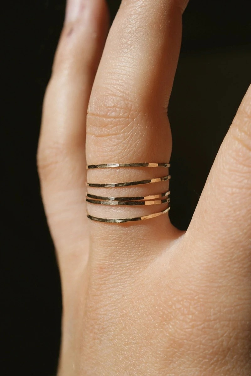 Ultra Thin Gold Filled stacking rings set of 5 14K gold fill