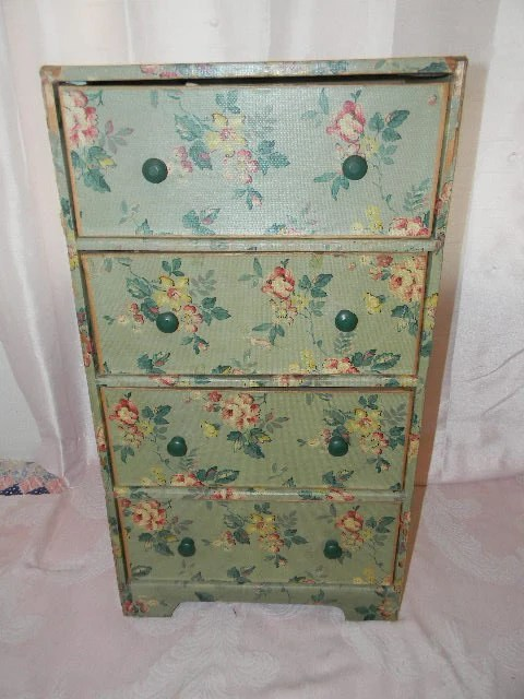 Vintage Wallpapered Cardboard Dresser Drawers