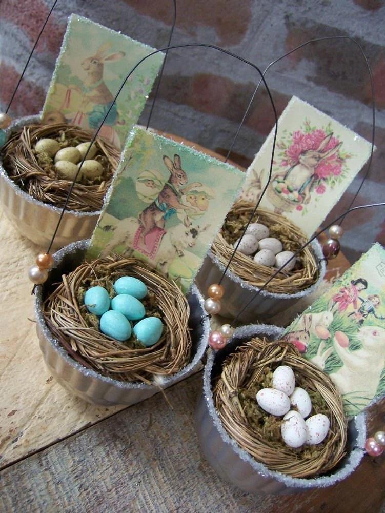 VintageInspired Jello Mold Easter Egg Baskets