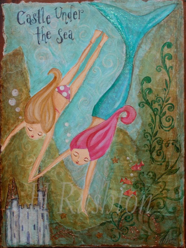 Mermaid Art Print Childrens Kids Decor