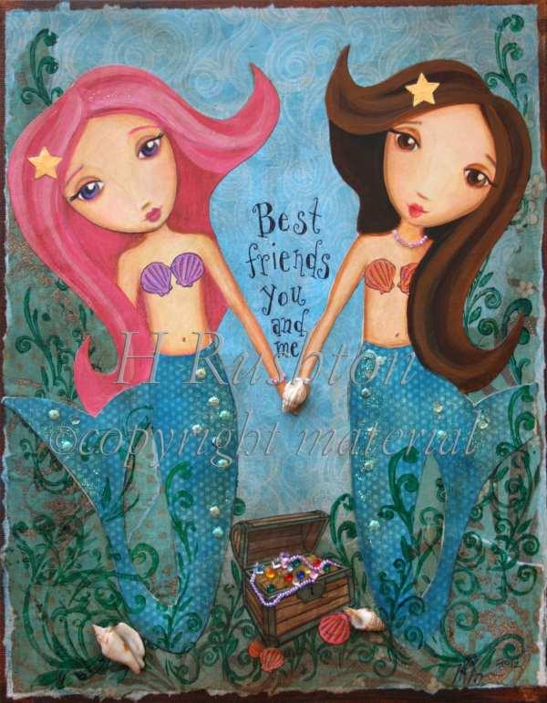 Mermaid Art Underwater Friends Children Hrushtonart