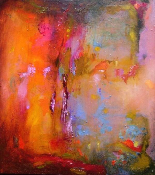 Abstract Painting Original Orange Bright Small