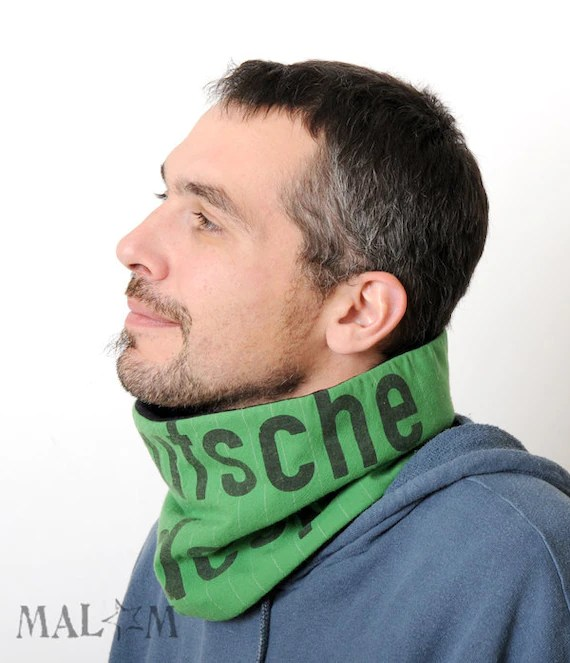 Men Cowl Scarf Neckwarmer - recycled vintage German airmail bag - Deutsche Post