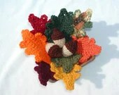 Crocheted Fall Leaves and Acorn Group - honeybee69