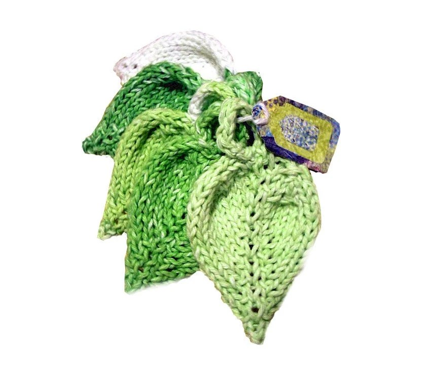 Knit Cotton Leaf Scrubbies White Green Lime - Deekas