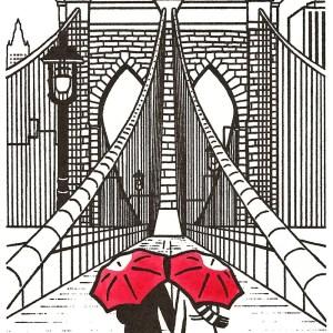 brooklyn bridge york gocco nyc couple umbrella drawing draw simple ny under george washington december artist couples