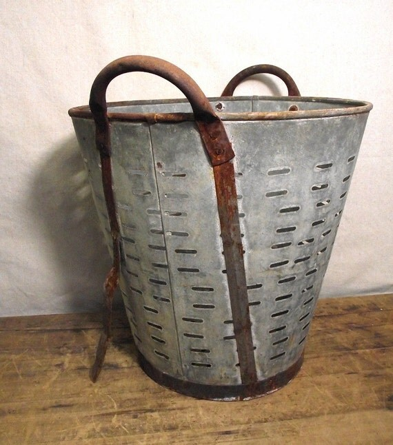Vintage Olive Bucket from Europe Galvanized Large by
