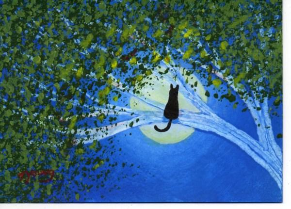 Black Cat Modern Folk Art Print Of Todd Young Original