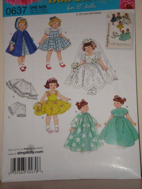 Doll Clothes 8 Pattern Simplicity 2775