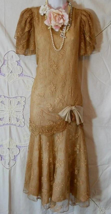 Vintage lace dress beige tea stained drop waist flapper