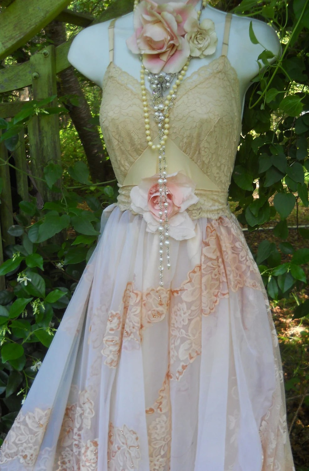 Beaded wedding dress vintage lace tea stained romantic rose