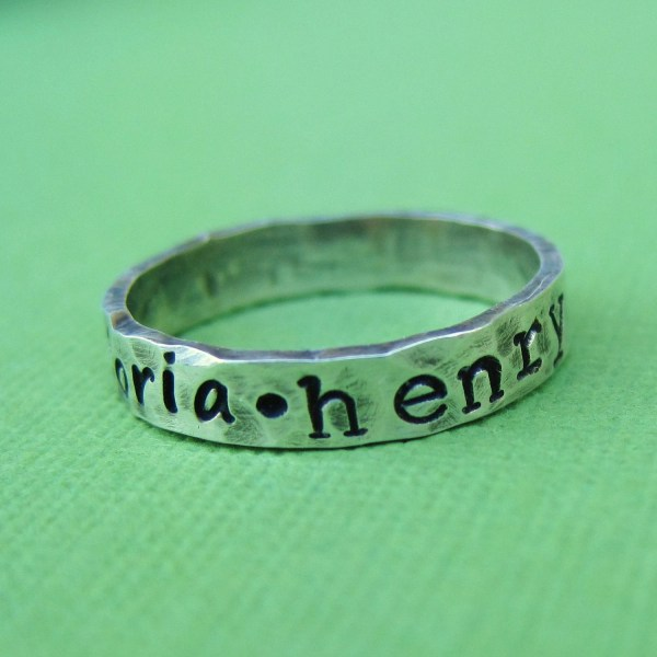 Hand Stamped Sterling Silver Ring Annaourthjewelry