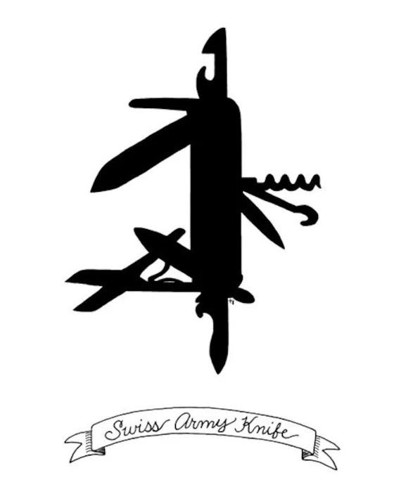 SALE Swiss Army Knife A Silhouette 8x10 print by Dandyville