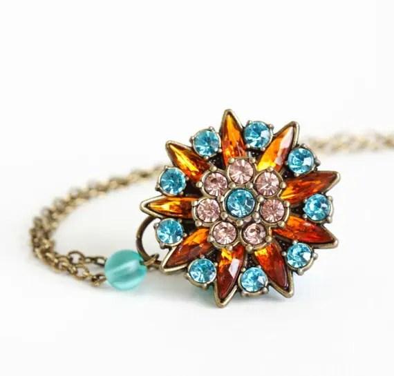 Rhinestone Pendant - Brass Necklace - Brass Chain - Amber Rose Turquoise Rhinestones - Free Shipping