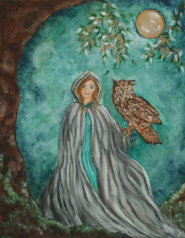 Celeste Original Bronwyn Fantasy Fairy Owl Celtic Goddess Art
