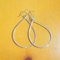 Large silver teardrop earrings big silver teardrop hoops