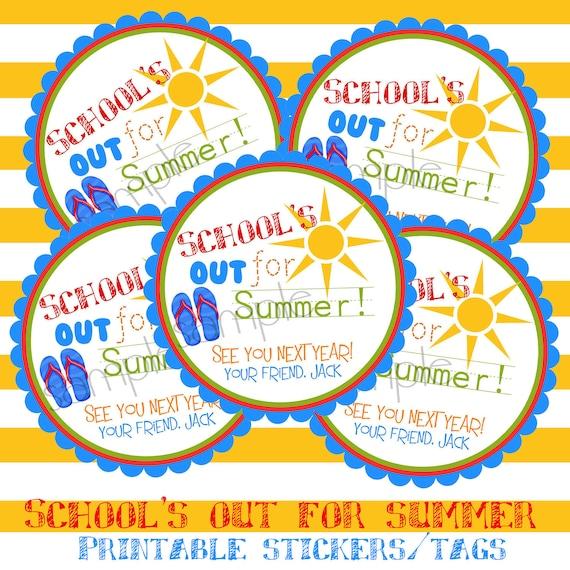 Printable, DIY, Schools Out, Sun, Flip flops, Summer, Labels,  stickers, Hang Tags, Teacher, children, kids, school - LittlebeaneBoutique