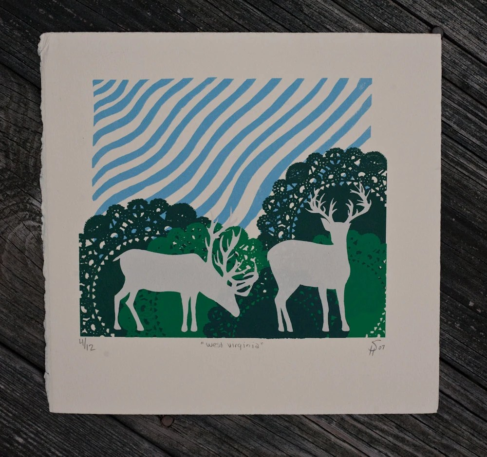 deer silhouette print with doiley foliage silkscreen - exit343design
