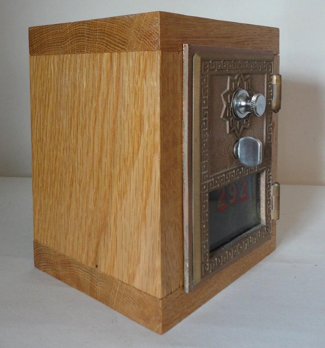 Golden Oak Wooden Safe With Vintage Brass Post Office Door 292