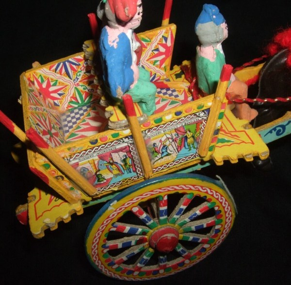 Vintage Folk Art Italian Horse And Carriage