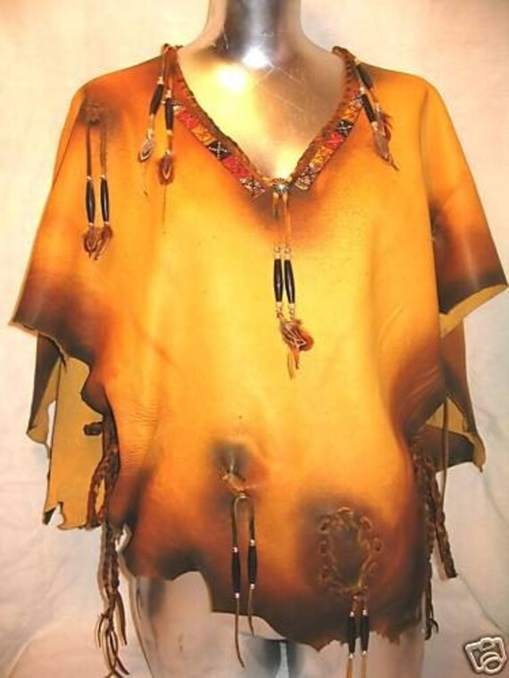 Indian Style Leather Shirt Fringe Deerskin Western Style