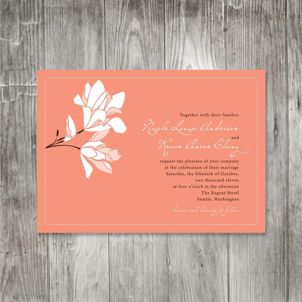 Spring magnolia wedding invitation onepaperheart for Magnolia tree wedding invitations