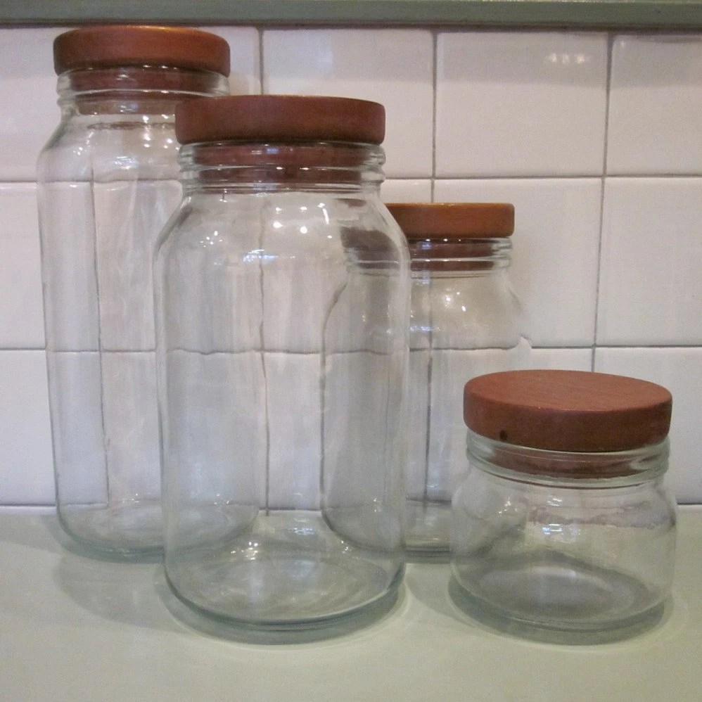 clear kitchen canisters ideas for islands vintage glass canister set wooden lids