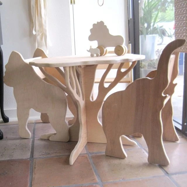Table and Two Chairs- The Child's Menagerie Furniture Set Collection by Paloma's Nest