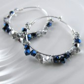 Charming Hoop Earrings - Sterling Silver, Swarovski Metallic Blue and Comet Crystals - alisonkelleydesigns