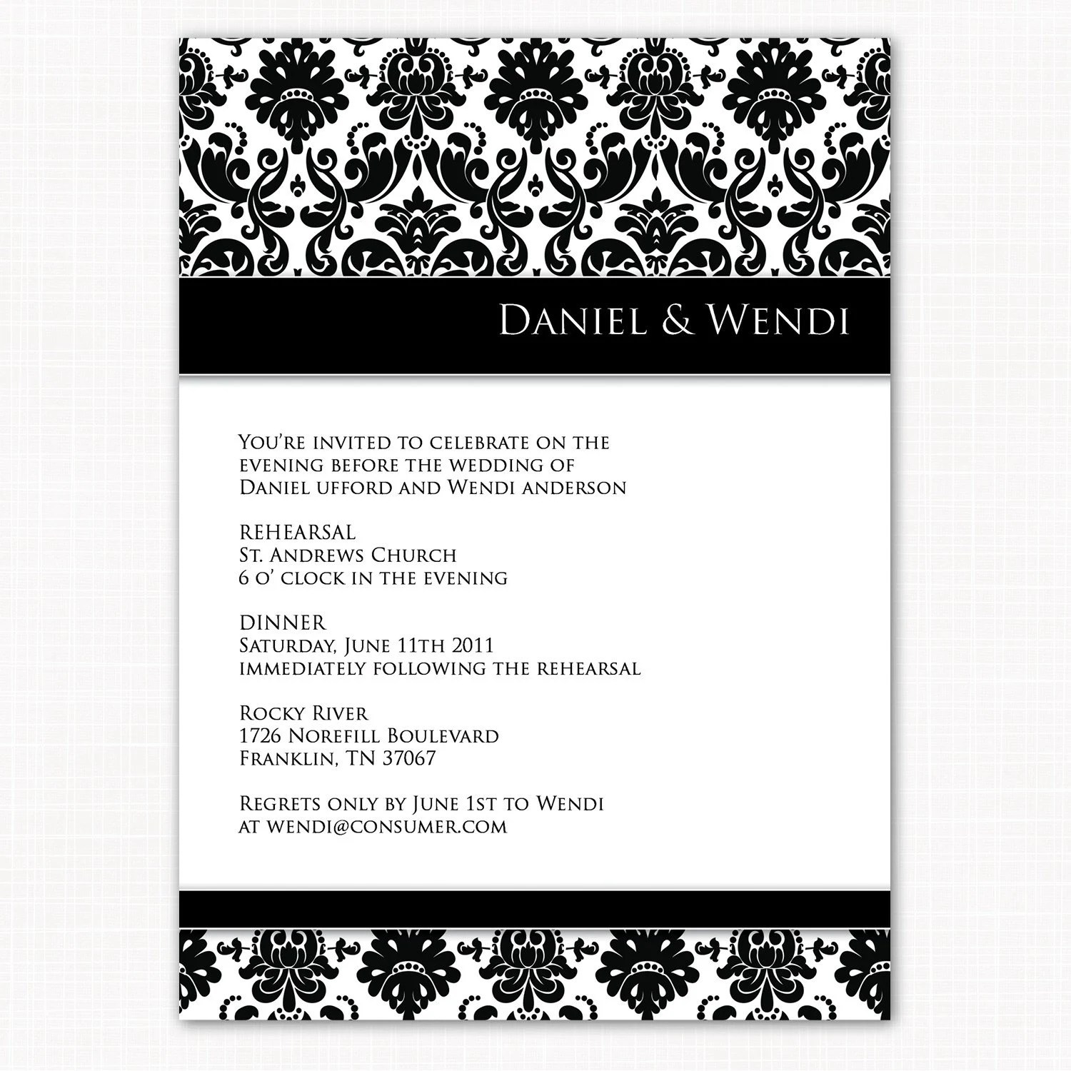 formal rehearsal dinner invitation black and white damask