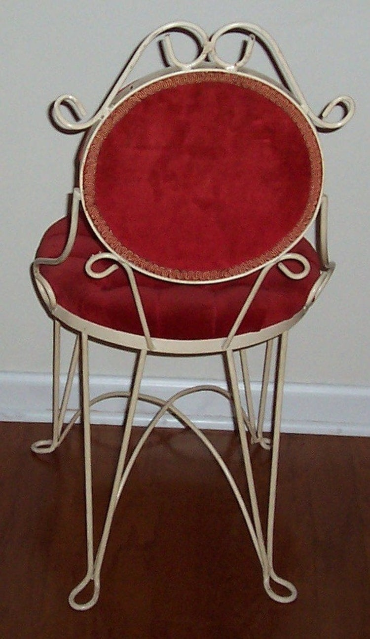 Vintage Wrought Iron Vanity Chair Red Velvet by