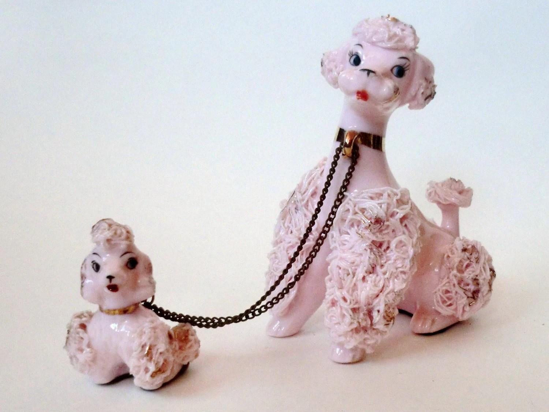 Vintage Pink Poodle Figurines