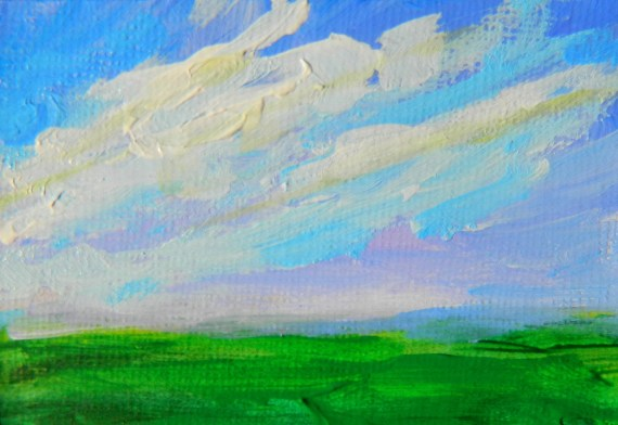 Summer Sky Fields landscape original minature painting  2.5 by 3.5 inches,  artist Janice Warriner - OilsbyJanice