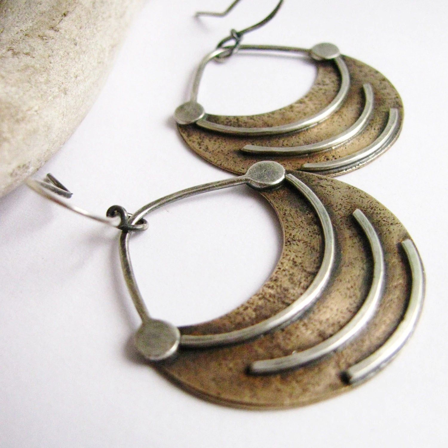 Mixed Metal Earrings Fertile Crescent Ethnic Earrings