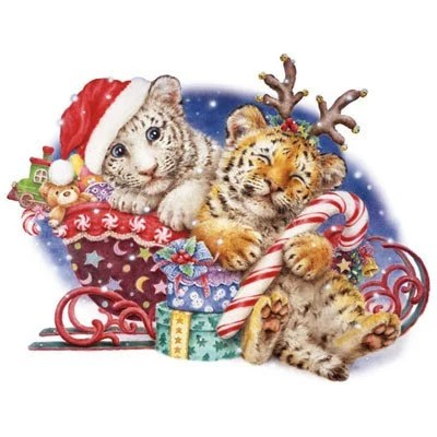 Items Similar To Cute Christmas Tiger Cubs On Santas