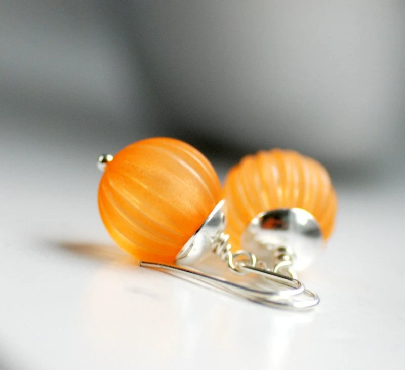Pumpkin Orange Earrings, Vintage Lucite Jewelry, Autumn Earrings, Dangle Earrings, Halloween Jewelry, Sterling Silver - Jack O Lantern - WildWomanJewelry