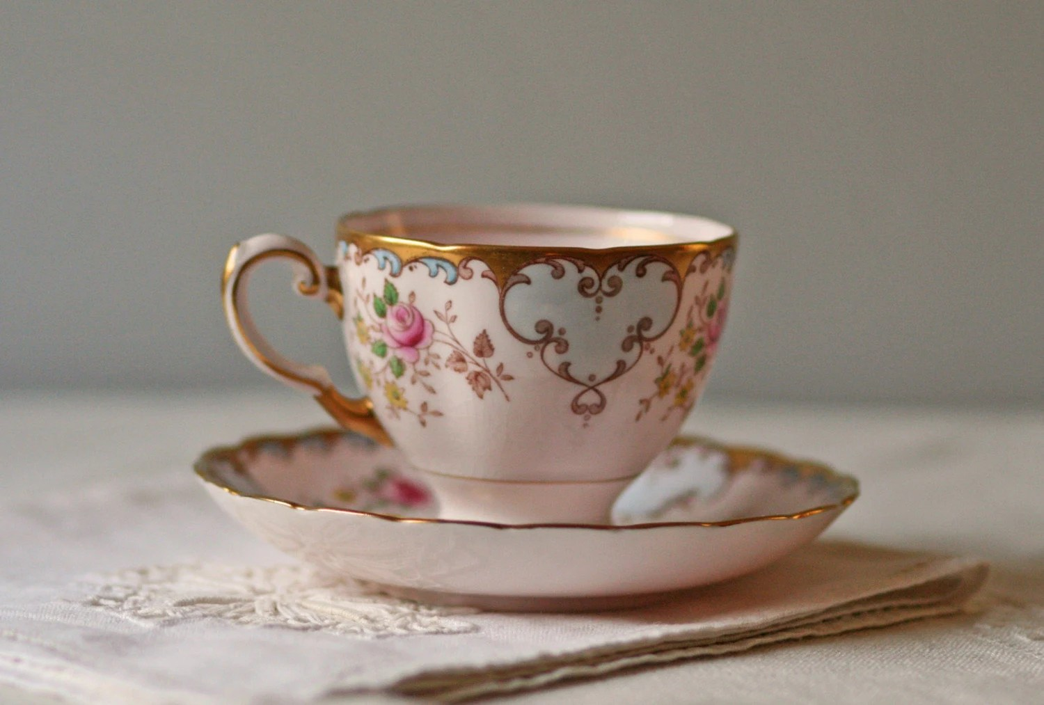 vintage Tuscan fine bone china tea cup and saucer FANCY ROSE