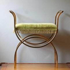 Vintage Vanity Chair Teardrop Swing Brass With Lime Green Velvet Seat Hollywood