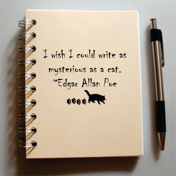 Cat Journal - Custom  Made to Order Sketchbook - I wish I could write as mysterious as a cat - Edgar Allan Poe BLANK pages