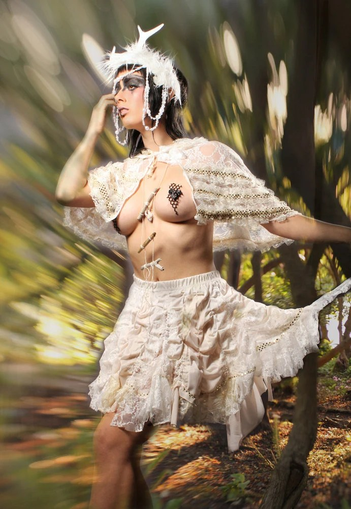 Gypsy Couture Skirt ruffly Belly Dance vintage cream white
