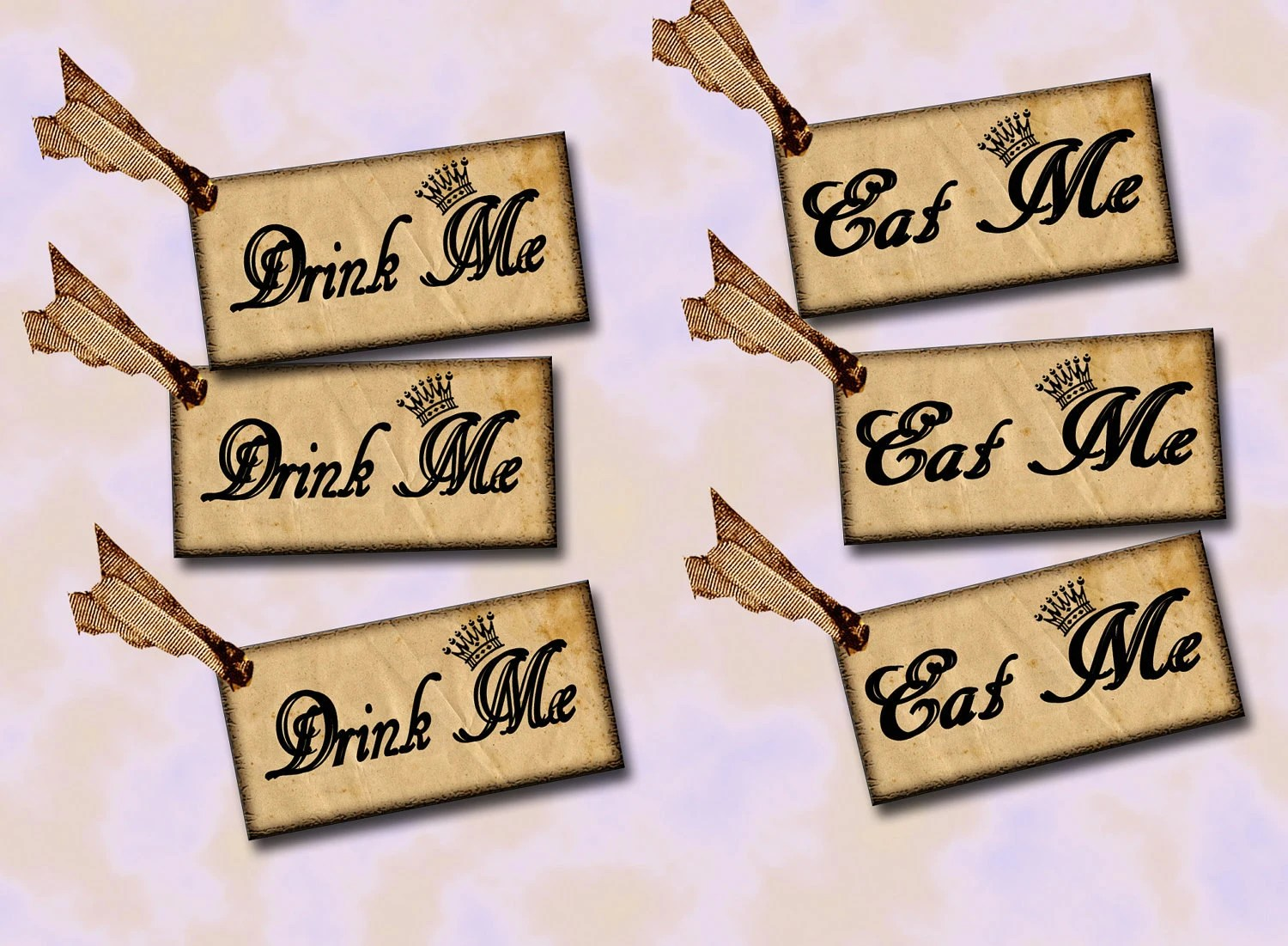 Set Of 40 DRiNK Me & Eat Alice In Wonderland Hang TaGs