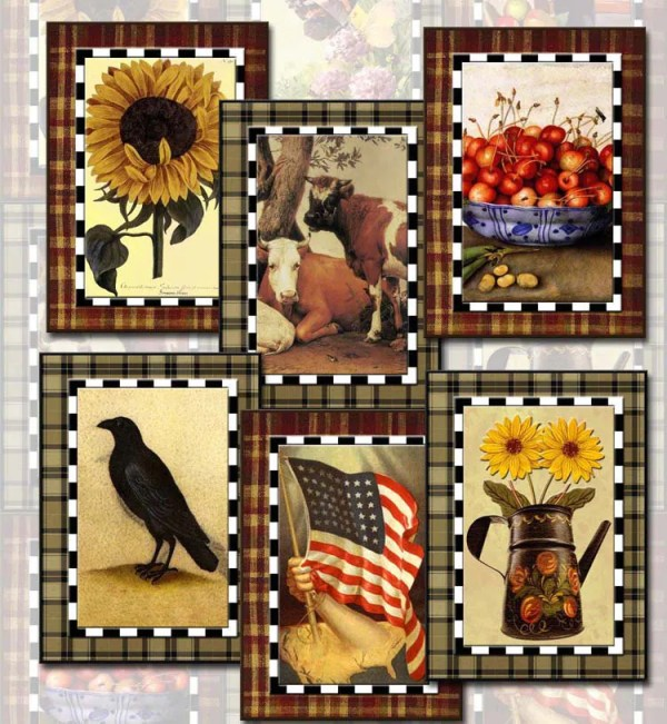 primitive vintage art tags cards labels-crow
