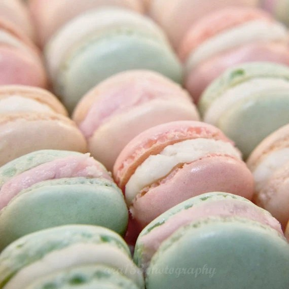 "Macaron Photography - 5x5 inch Photograph of French pastry in light pink and mint green - ""Parisian Pastels"" - ara133photography"
