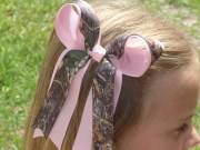 mossy oak camo hair bow with tails