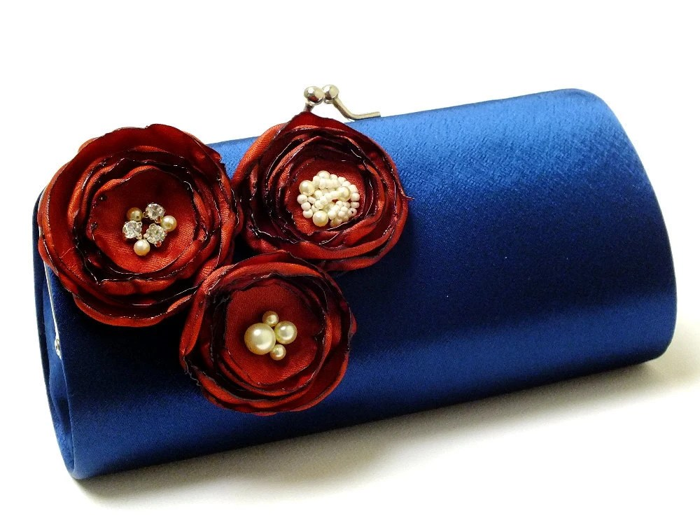 Items similar to Bridesmaid Clutch  Navy Blue Clutch  Rust Burnt Orange Flowers  Bridal