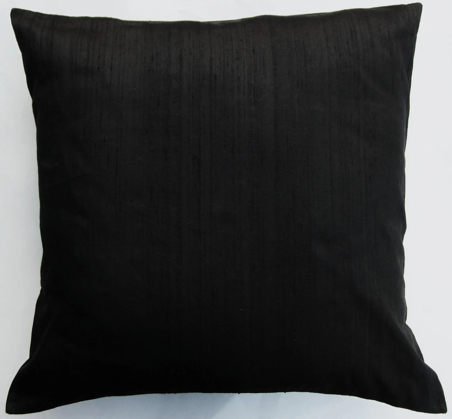 Black Pillow Cover Black Silk Throw Pillow Cover 18 x 18
